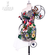 Jusere Colorful Sequins Emboridery Attractive Short Party Dresses Unique Design One Shoulder Sexy Prom Dress Real Photos