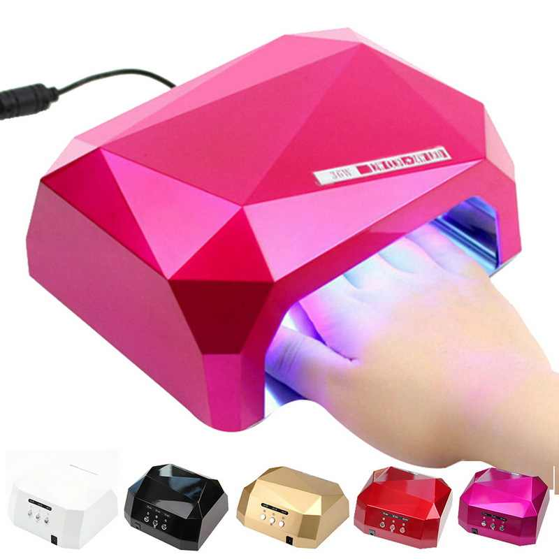 Brand New 36W Nail Dryer Red Diamond Shape LED UV CCFL Light Gel Curing Lamps 2018 New Popular Drying Gel Polish Nail Tools