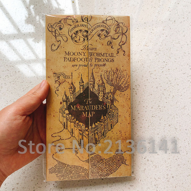 The Marauder's Map/Acceptance Letter/Platform 9 3/4 Ticket Harry Movie Wizard Ron Hedwig Hermione King's Cross Railway Station