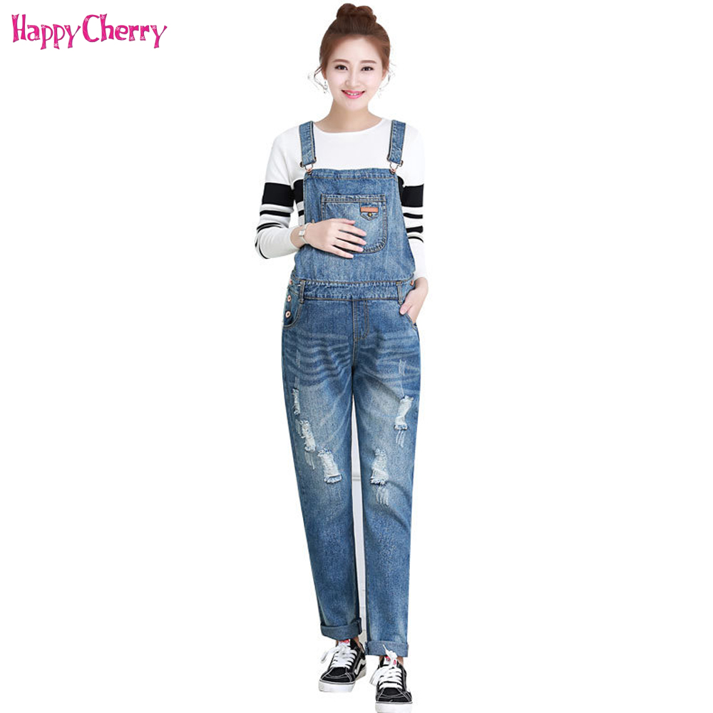 Happy Cherry Maternity Jeans Pants New Women Pregnant Clothing Soft One-Piece Clothes For Pregnancy Loose Large Size Trousers high waist jeans women plus size femme stretch slim loose large size jeans pants 2017 casual ankle length haren pants trousers page 4