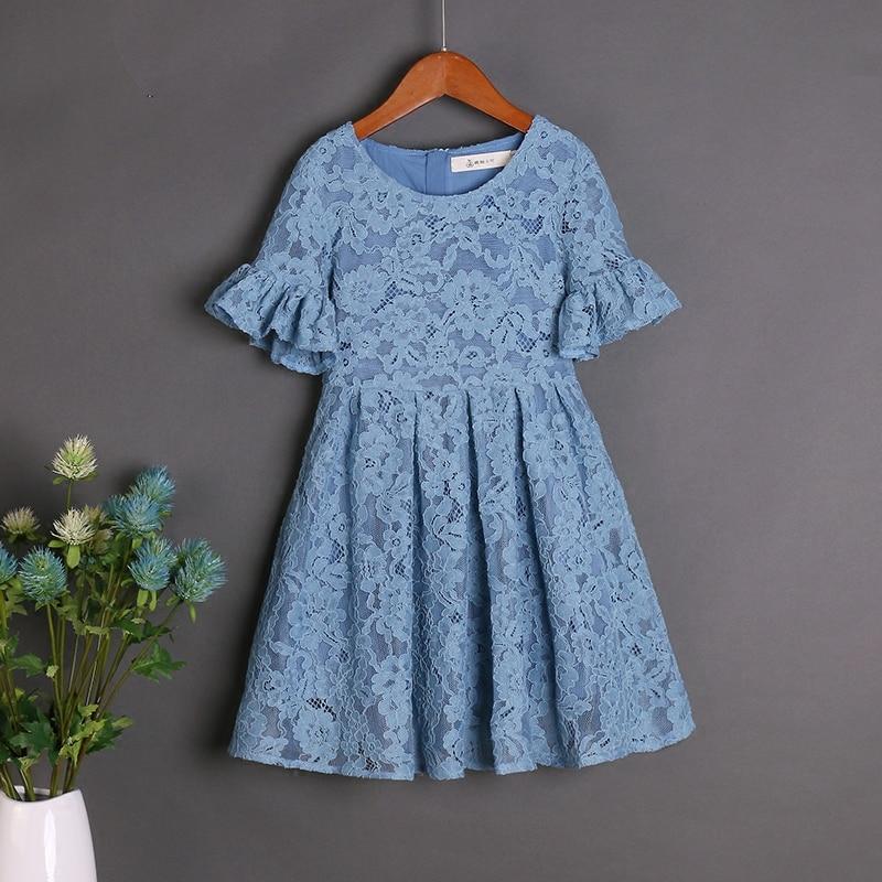 Été enfants vêtements ensembles bleu clair dentelle robe famille look mère fille mode jupes maman et bébé fille robes de plage