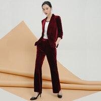 Office Ladies Formal Slim Fit Velvet Blazer Suit Women Business Work Single Button Blazers Outwear Coat Wide Leg Pants Set Suits
