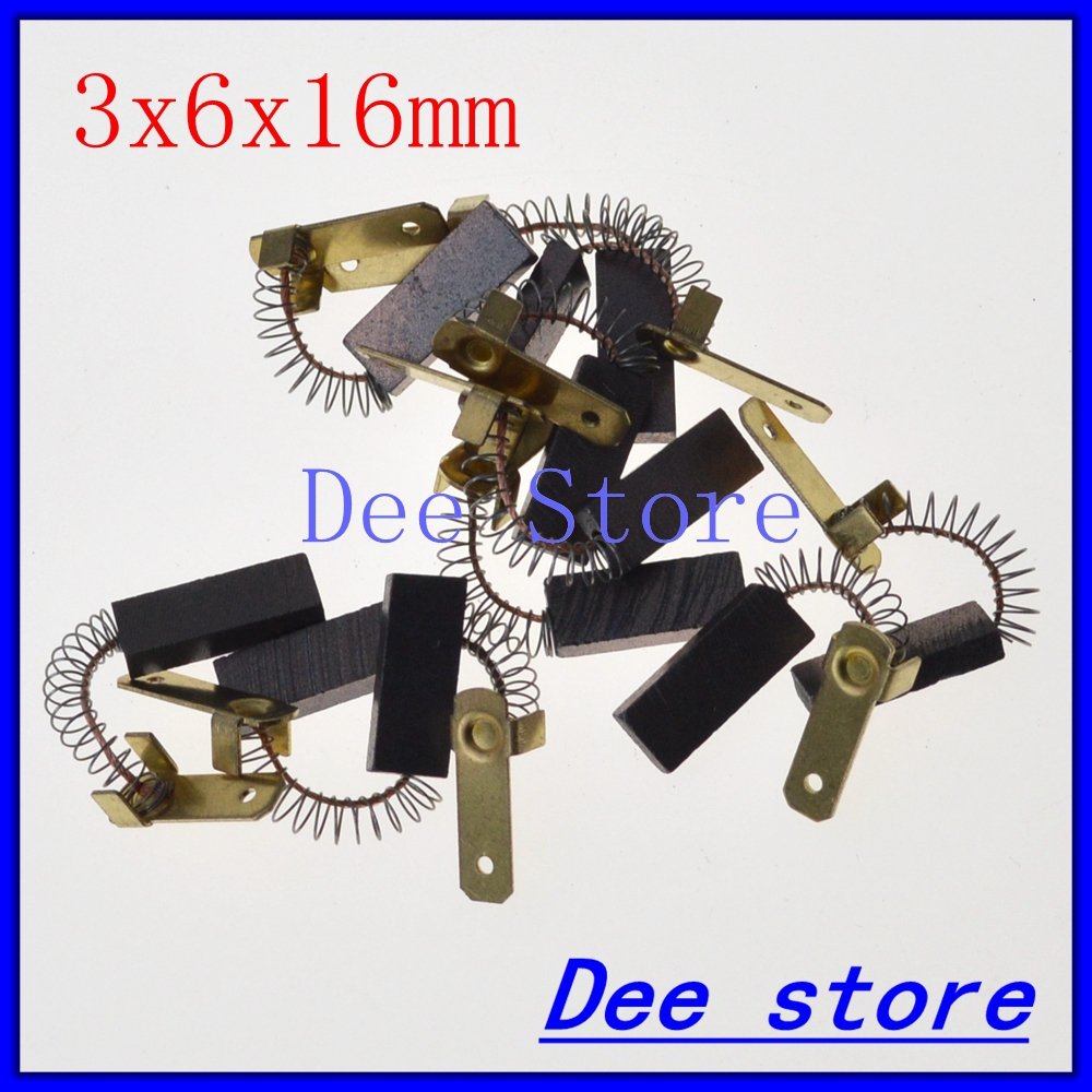 10pcs Spring&Wire Leads 3x6x16mm Electric Motor Carbon Brushes Generic Power Tool For Wire EDM Machine Spindle DC Motors Etc