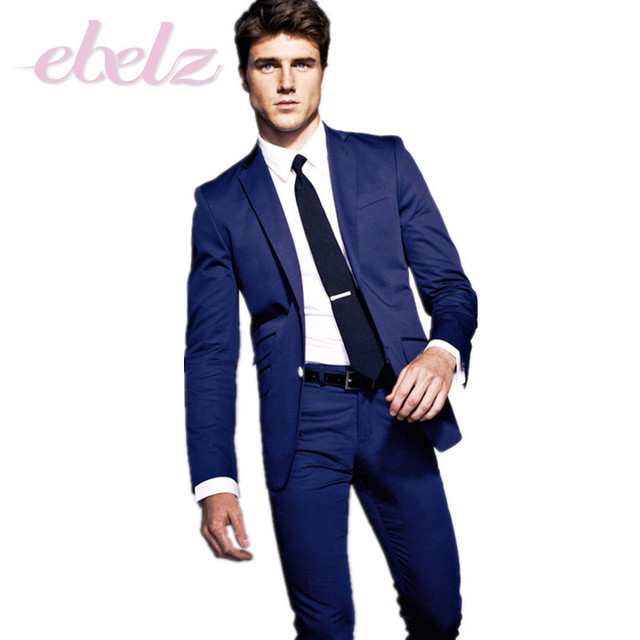 Top Quality Slim Fit 2015 Groom Tuxedos Blue Side Slit Groomsmen ...