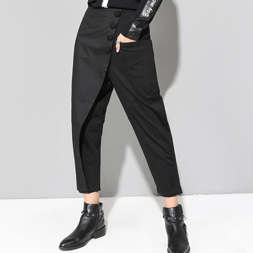 HTB1O78LKx1YBuNjy1zcq6zNcXXa4 - [EAM] 2019 New Spring Black Loose High Waist Flat Elastic Waist Women Fashion Tide Wide Leg Ankle-length Pants OA870