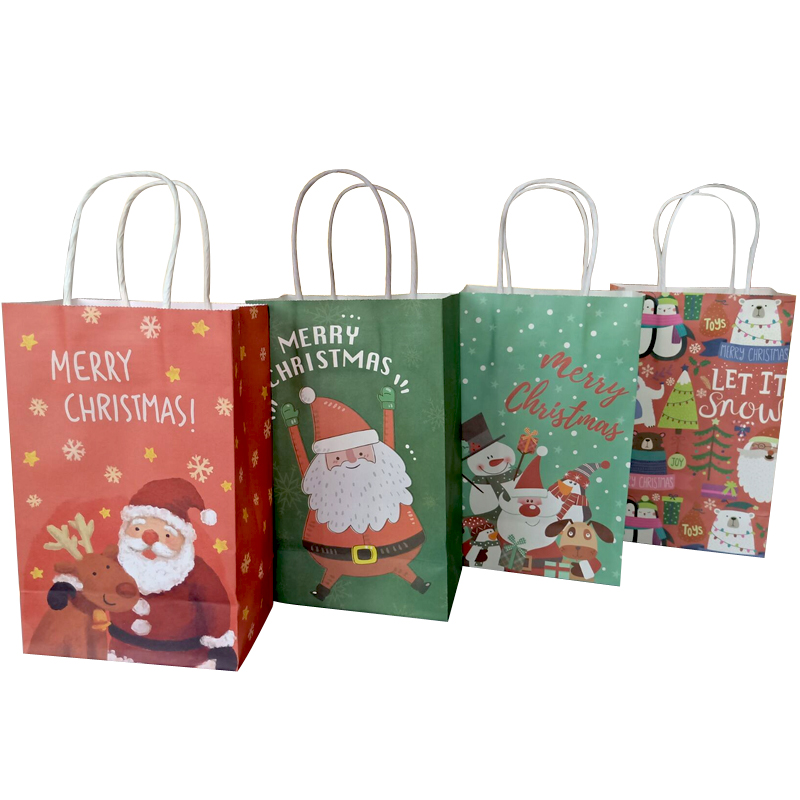 40Pcs lot Christmas Paper Bag 21 13 8cm Multifuntion Festival gift bag with Handles Christmas Party Supply For Party Wholesale in Gift Bags Wrapping Supplies from Home Garden