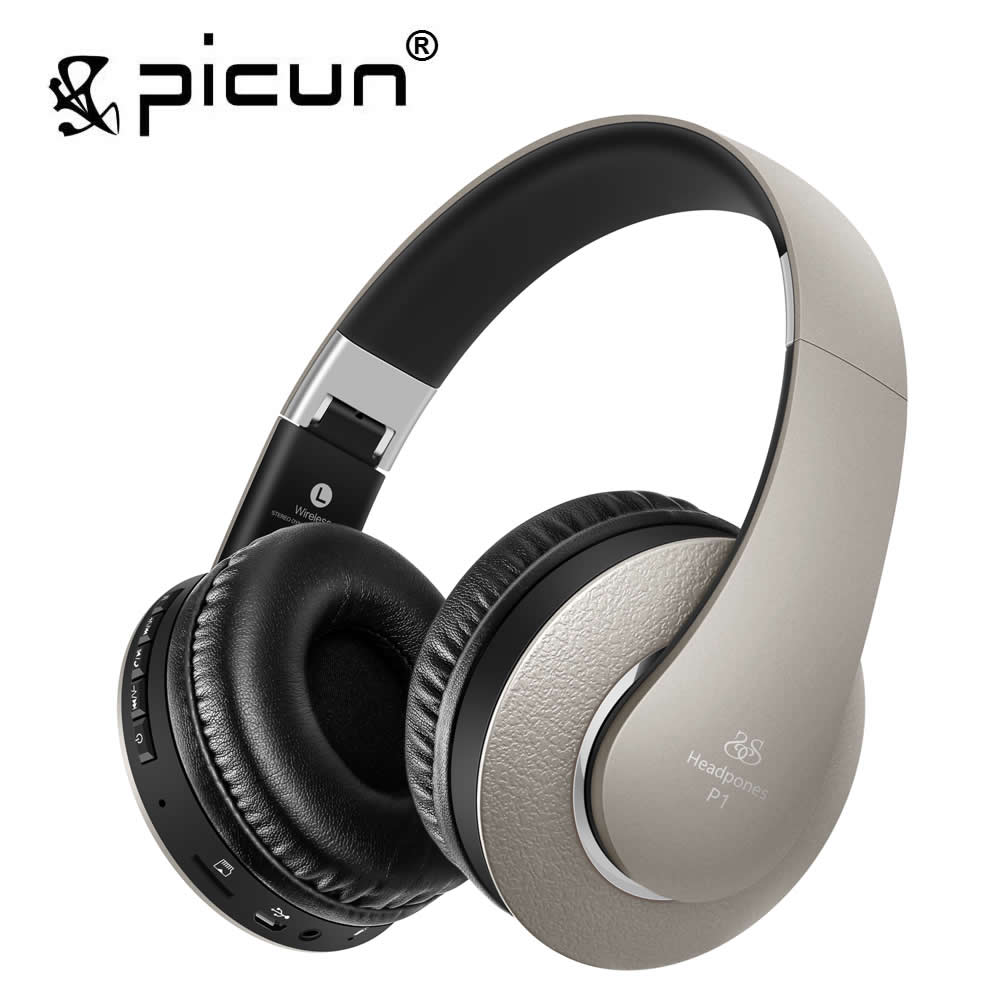 Picun P1 Headphones Bluetooth Version 4.0 Wireless Headset shocking bass Headphone With Microphone Handsfree Calls original headphone bluedio t2 headphones version 4 1 wireless headset stereo earphones with microphone handsfree calls