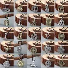 QIMING Nordic Viking Men Necklace Women Slavic Symbol Amulets Kolovrat Antique Silver Cross Hammer Pendant Male Jewelry