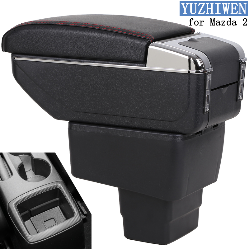 For Mazda 2 Armrest Box Mazda 2 Universal Car Central Armrest Storage Box cup holder ashtray accessories double rise with 7 USBFor Mazda 2 Armrest Box Mazda 2 Universal Car Central Armrest Storage Box cup holder ashtray accessories double rise with 7 USB