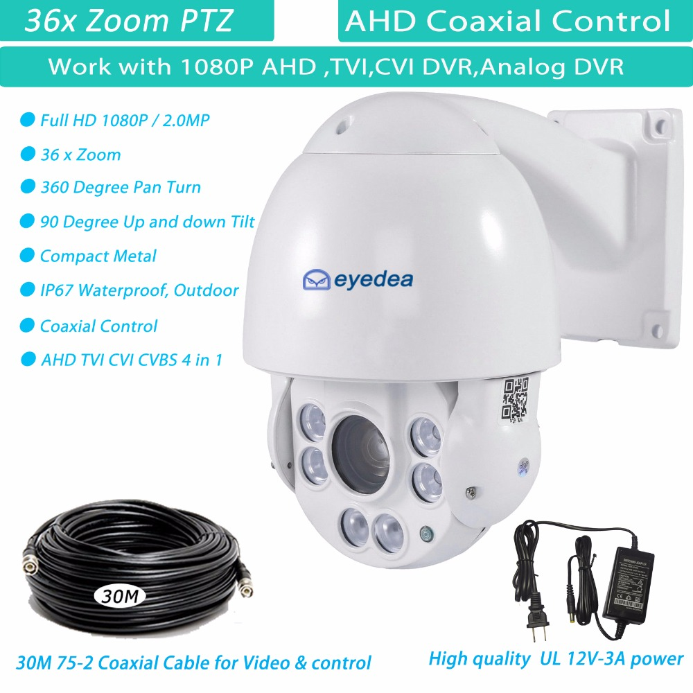 Eyedea 1080P CCTV Security Outdoor Speed Dome 5500TV AHD PTZ 36x Zoom Waterproof RS 485 IR Night Vision Pan Tilt Camera 30M Wire 7 2mp 4 in 1 high speed dome cvi ahd camera 36x optical zoom 100m ir night vision waterproof ip66 ptz camera