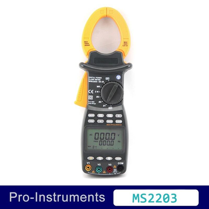 Peakmeter MS2203 высокая точность 3 фазы Интеллектуальный TRMS Цифровой Токоизмерительные коррекции коэффициента мощности мультиметр Null