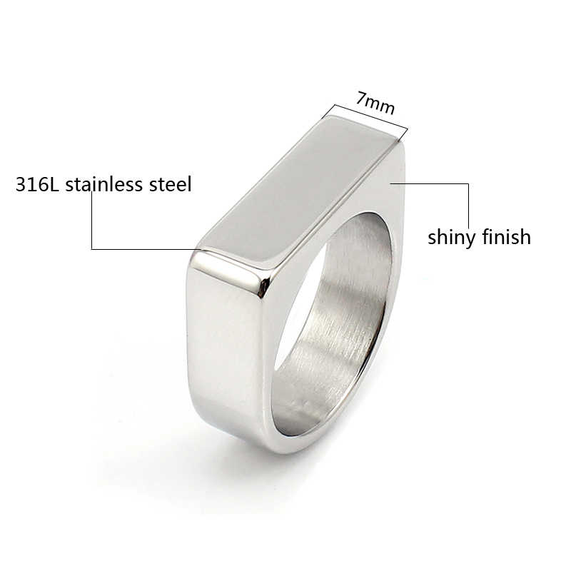ส่วนบุคคลแหวนเปล่าสแตนเลส Mens Signet แหวนเงินสีขนาด 8 9 10 11 ไม่รวม extra โลโก้ราคา 1pcs
