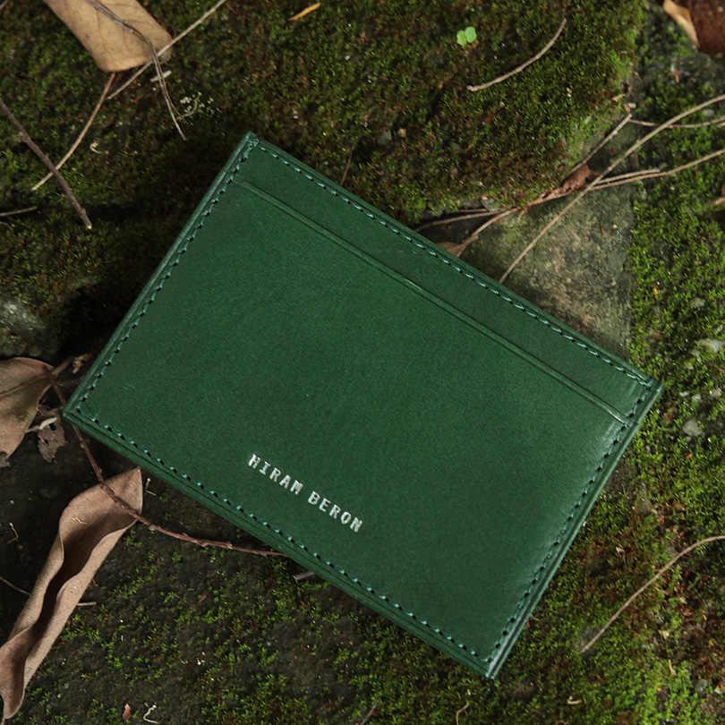 Hiram Beron RFID Блокировка кожаный держатель для карт для мужчин на заказ ID мини кошелек растительного дубления кожаный кошелек из натуральной кожи Прямая поставка