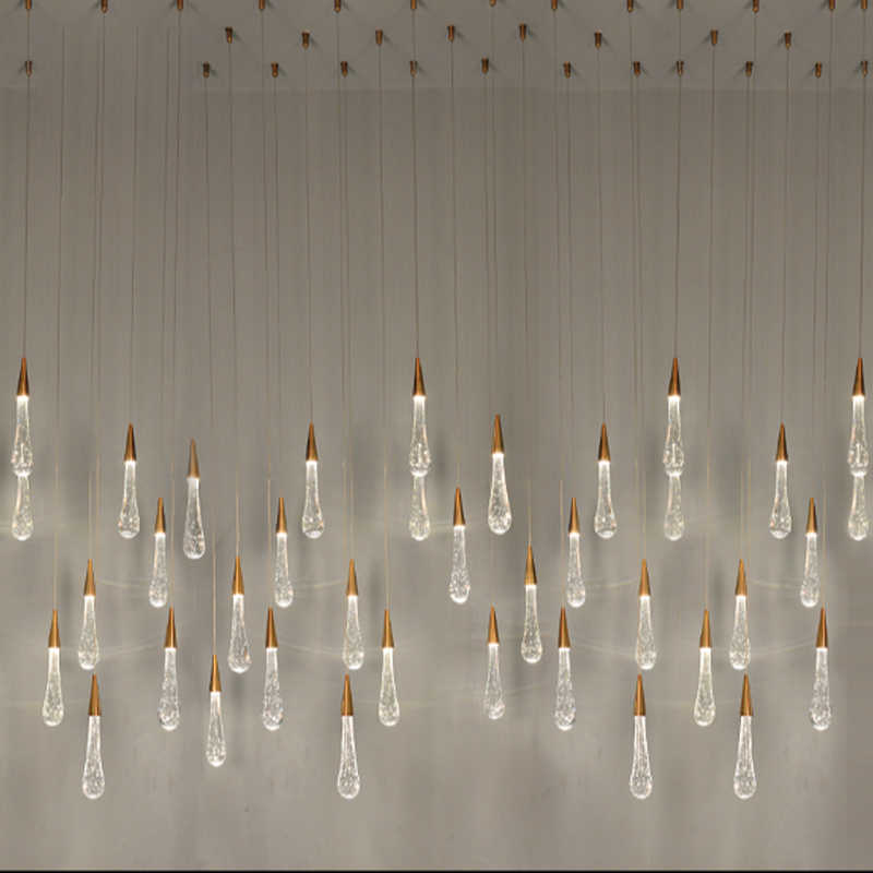 Zyy 골드 워터 드롭 버블 크리스탈 크리 에이 티브 펜던트 라이트 유럽 스타일의 럭셔리 led 램프 유리 실내 조명 레스토랑