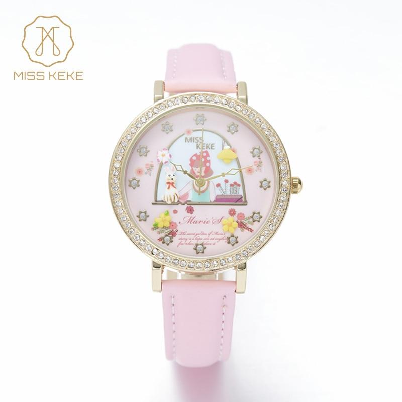 MISS KEKE πηλός χαριτωμένο 3D μίνι κόσμο Ρολόγια λουλουδιών Ρολόγια μόδας γυναικών Ρολόγια γυναικών relojes mujer ροζ φόρεμα κυρίες δέρμα Ρολόγια χεριού 1060