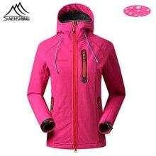 SAENSHING Fleece Softshell Jacket Women Outdoor Waterproof Windproof Camping Jacket Female Hooded Hiking Fishing Clothing S-XXL