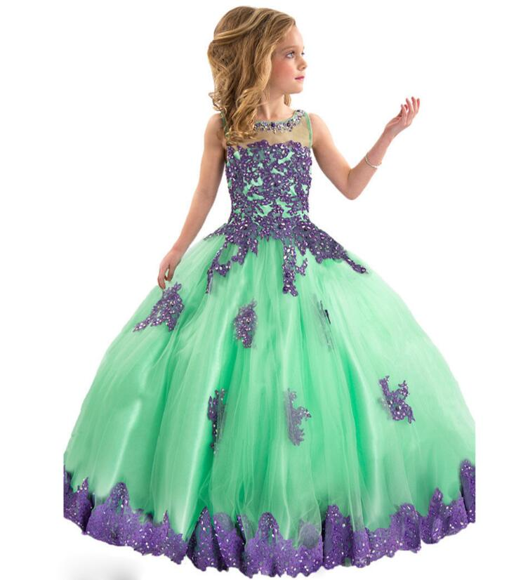 Girls Pageant Formal Dresses 2018 Long Catwalk Prom Ball Gowns Flowers Girls Princess Dress Kids Birthday Party Wedding Dress princess dress for girls party prom princess pageant dress dress girls