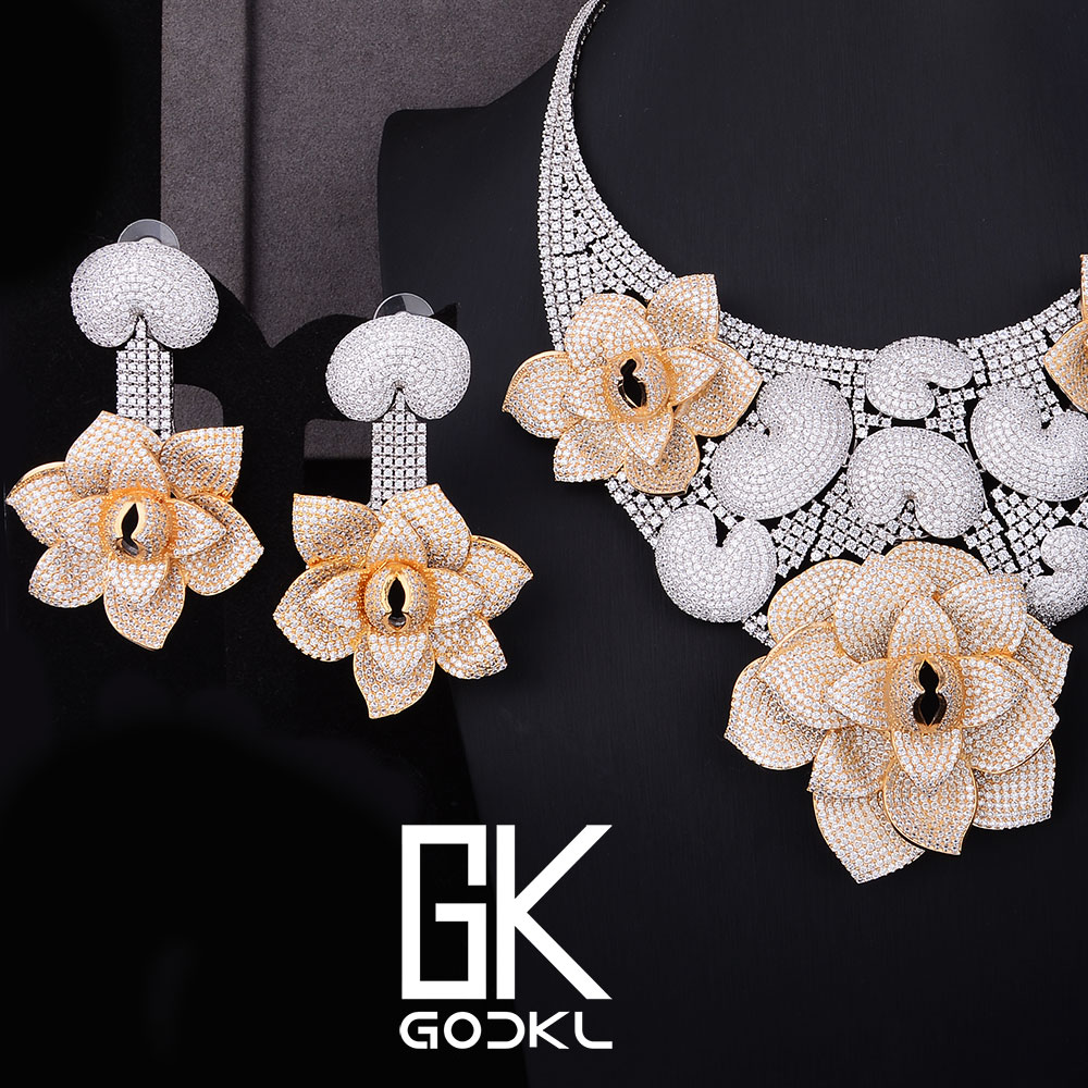 GODKI Luxury Cannibal flower Cubic Zirconia Nigerian Bridal Jewelry sets For Women dubai Silver jewelry sets indian jewelry Sets