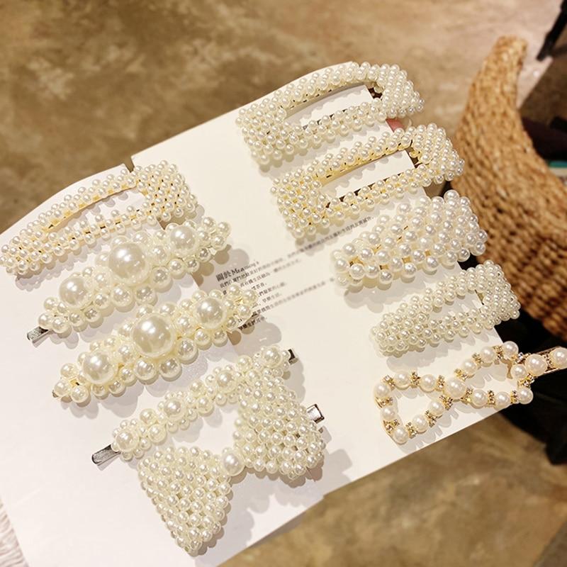 New Elegant Geometric Rhinestone Pearl Alloy Hairpin For Women And Girls Hair Clips Headband Headwear Barrettes Hair Accessories