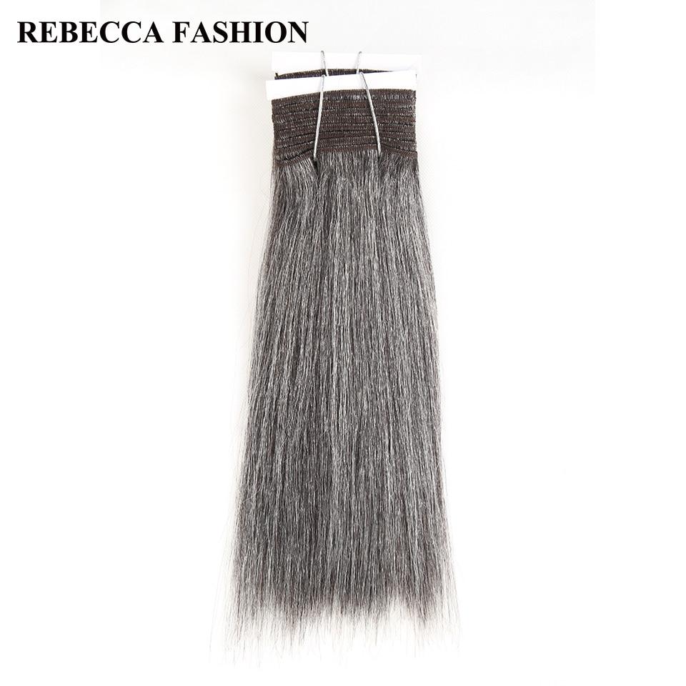 Rebecca Remy-extensiones de cabello humano liso brasileño Yaki, paquete de 10-14 pulgadas, para salón, color negro, gris y plateado, 113g