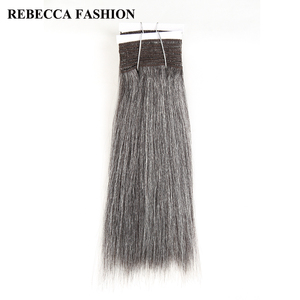 Rebecca Remy Brazilian Yaki Straight Human Hair Weave 1 bundle 10-14 Inch Black Grey Silver Colored Salon Hair Extensions 113g