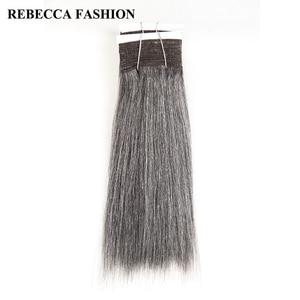 Rebecca Remy бразильские Яки, прямые человеческие волосы, 1 комплект, 10-14 дюймов, черные, серые, серебристые, для наращивания, 113 г