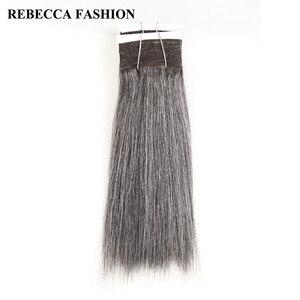 Rebecca Remy Brazilian Yaki Straight Human Hair Weave 1 bundle 10-14 Inch Black Grey Silver Colored Salon Hair Extensions 113g