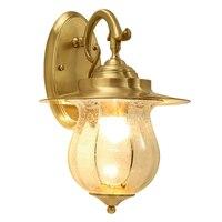 Американский стиль все медь творческой фойе Настенные светильники кантри проход коридор Лестницы украшения E27 лампы, настенные лампы освещ
