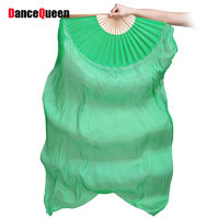 Hot Selling Belly Dancing Fans For Ladies 100 Silk Veil Red Green Yellow Fans Female High