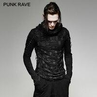 PUNK RAVE Punk Rock Black Double Layers Irregular Long Sleeve Man Hooded Black T Shirt Men