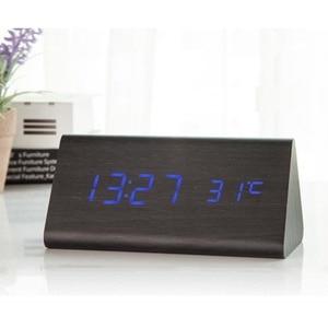 Image 2 - מעורר דיגיטלי שעון שולחני עץ LED שעונים זוהר בחושך שליטת קול אלקטרוני תצוגת מדחום בית תפאורה מתנה