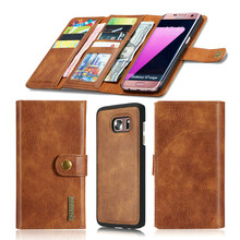 S7/S7 Edge Genuine Leather Case Mobile Phone Wallet Bag Real Leather Phone Cover for Samsung Galaxy S7 S7 Edge with Card Slots
