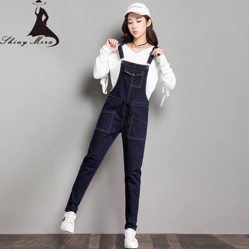 SHINYMORA New Loose Overalls Jeans for Women 2017 Lace Up Denim Casual Harem Jeans Pants Pocket Trousers Female Jumpsuit 6136 loose lace up casual mens pencil pants