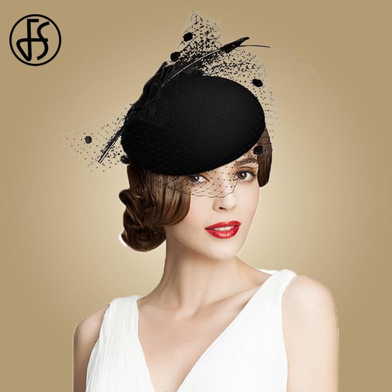 Image 2 - FS Fascinators Black Leopard Pillbox Hat With Veil 100% Australian Wool Felt Wedding Hats Women Vintage Bow Cocktail Fedoras-in Women's Fedoras from Apparel Accessories