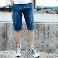 Hot Sale streetwear short jeans Breathable Elastic Slim Fit short masculino Men Deep Blue Color For Men Jeans short homme 5463