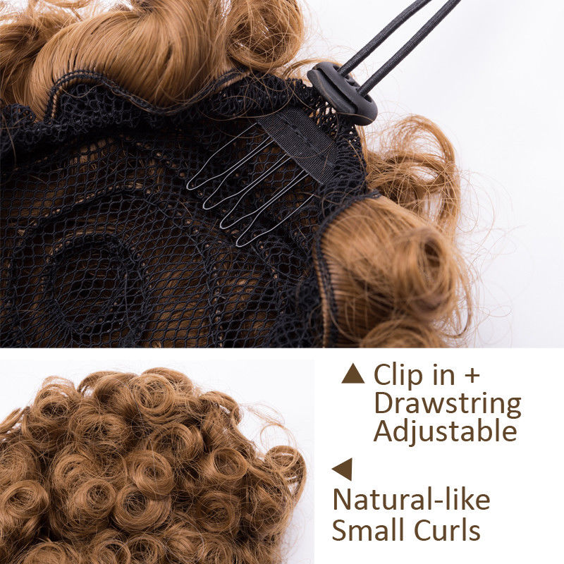 S-noilite Afro Kinky Curly Puffy Bob Updo Scrunchies hair Bun Chignon Hair Extensions chignon hairpiece for black women