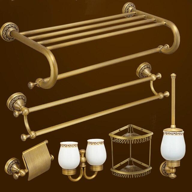 Antique Solid Brass Brushed Bathroom Hardware Sets European Carved ...