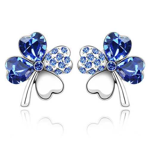 Fashion Clover Flowers Stud Earrings of Party Prom with Genuine Austrian Crystal for Women Girls Birthday Gift