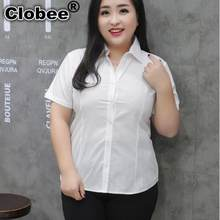 ropa mujer talla grande 4xl 5xl 6xl Women Blouse 2019 Summer OL White Shirt Office Lady Tops Plus Size V-neck Work Shirt M281(China)