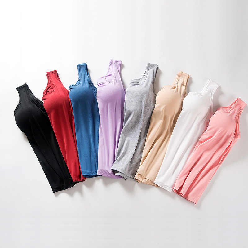 Women's summer 2019 뉴 탱크 탑 셔츠 모달 속옷 플러스 사이즈 여성 티셔츠 캐미솔 블라우스 브래지어 내장