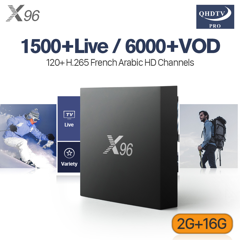 X96 IPTV France Android TV Box Amlogic S905X 2G 16G WIFI With Subscription IPTV H.265 Decoder IPTV Channels Arabic Italia UK