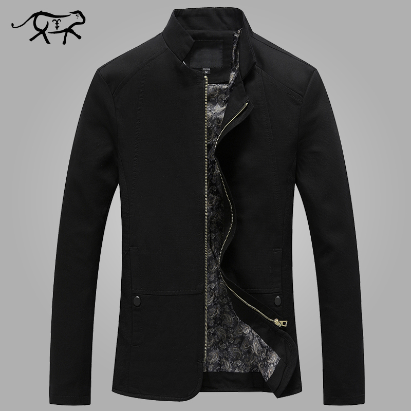 New Brand Jacket Men Stand Collor Men s Jackets and Coats Fashion Slim Fit Black Cotton