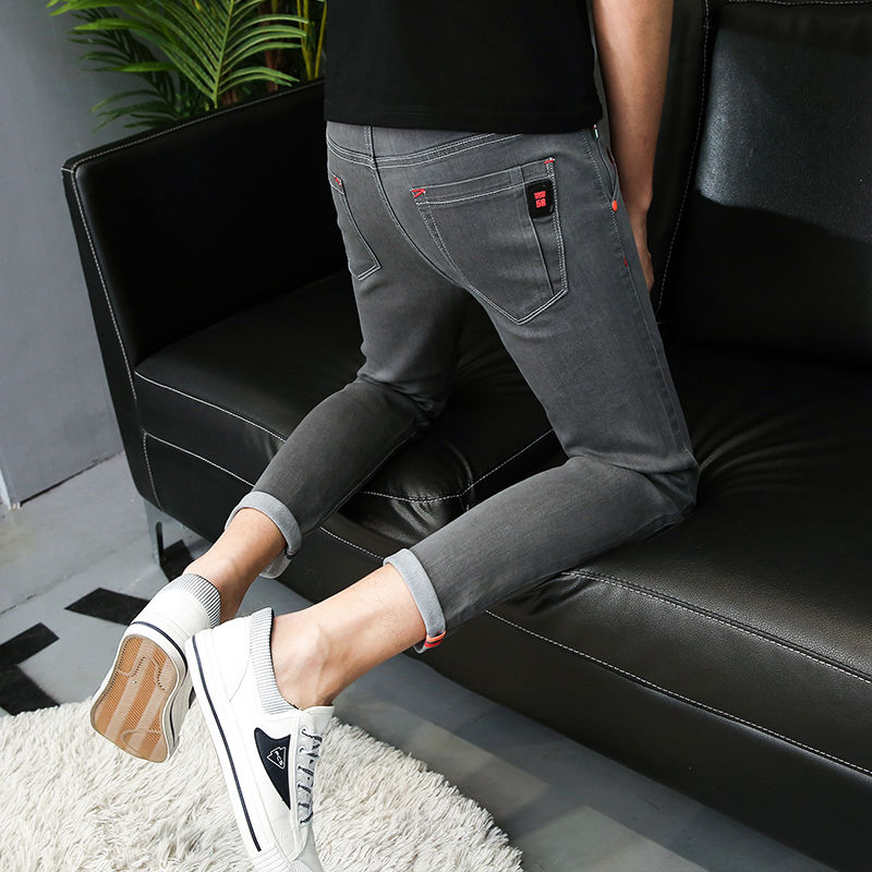 Skinny Denim Jeans Man Slimline Fabric Summer Straight Ankle Length Zipper Fly Pants Rock Button Casual Trousers Streetwear