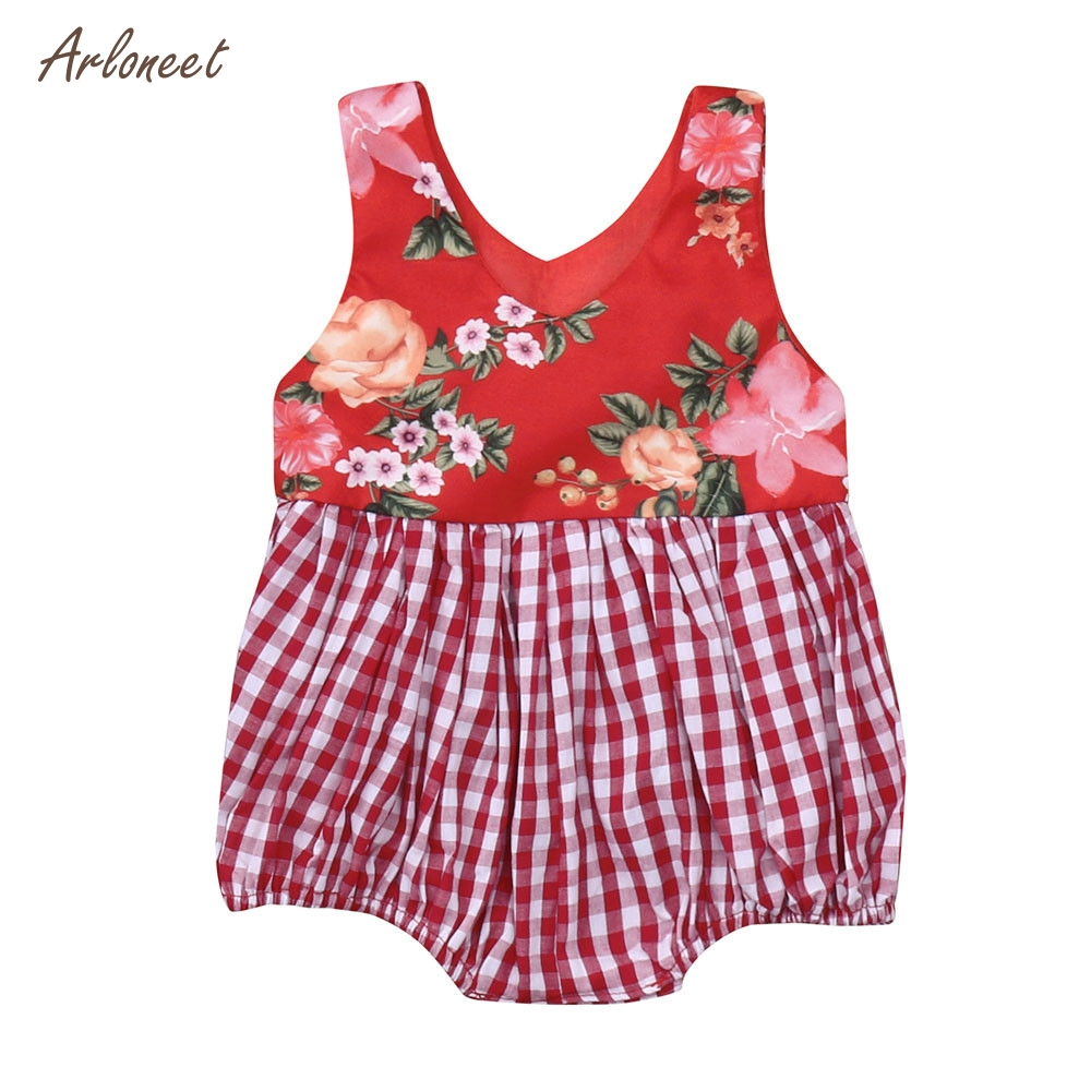 ARLONEET Infant Baby Girls Sleeveless Floral Print Plaid Vest Romper Jumpsuit Clothes 2018 HOT Dropshipping _E28