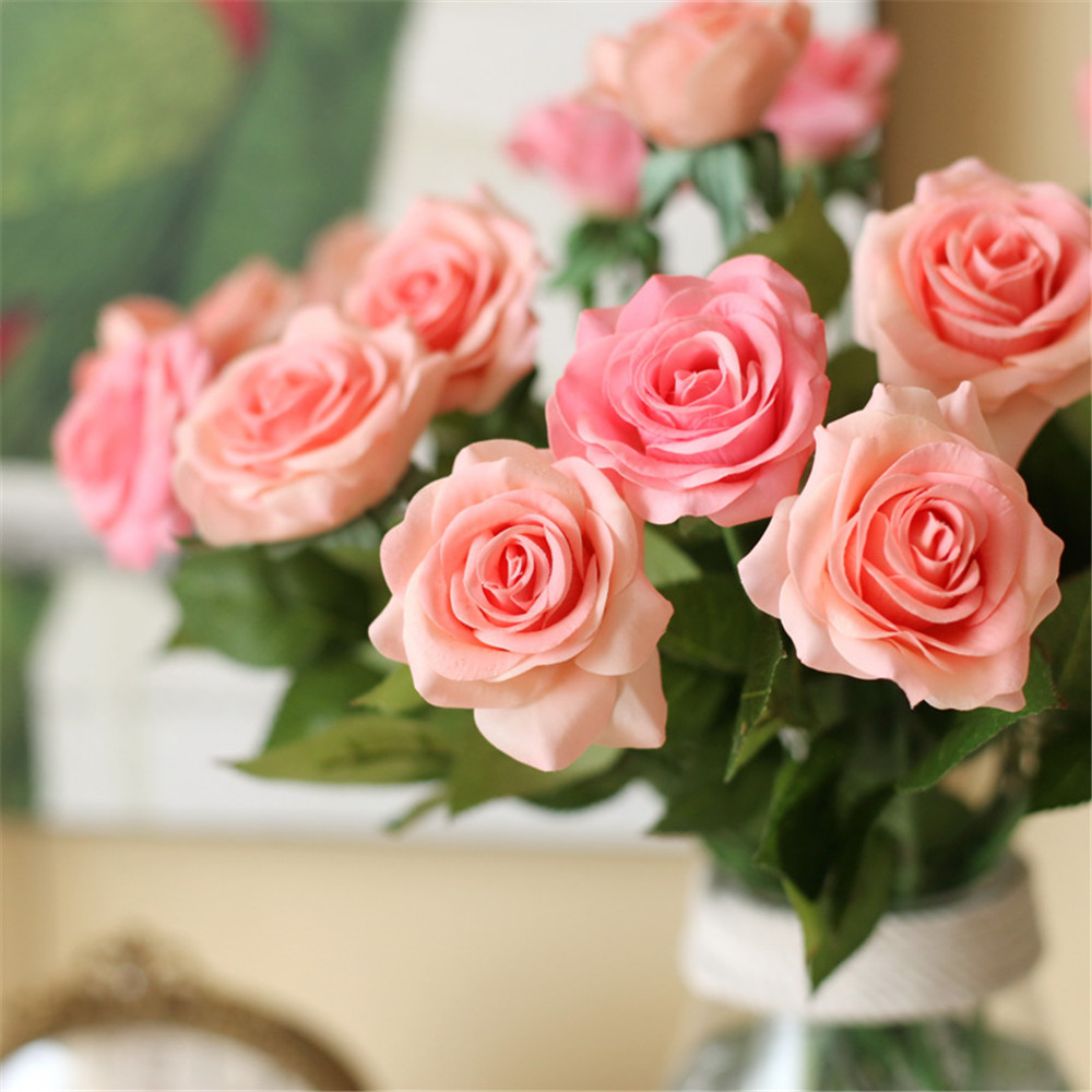 Pawca 10pcs flores artificiales real touch artificial rose flower pawca 10pcs flores artificiales real touch artificial rose flower bouquets wedding party flowers for vase home decorations in artificial dried flowers izmirmasajfo