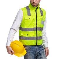 Gilet De Sécurité réfléchissant pour les Hommes Construction Trafic Entrepôt Visibilité Veste De Sécurité Réfléchissant Bandes Vêtements de Travail Uniformes