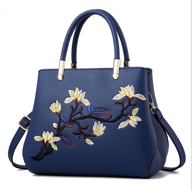 Women PU Leather Handbags Elegant Flowers Shoulder Bag  Fashion Crossbody Bag Retro Totes Top-Handle Bags Lady Messenger Bags