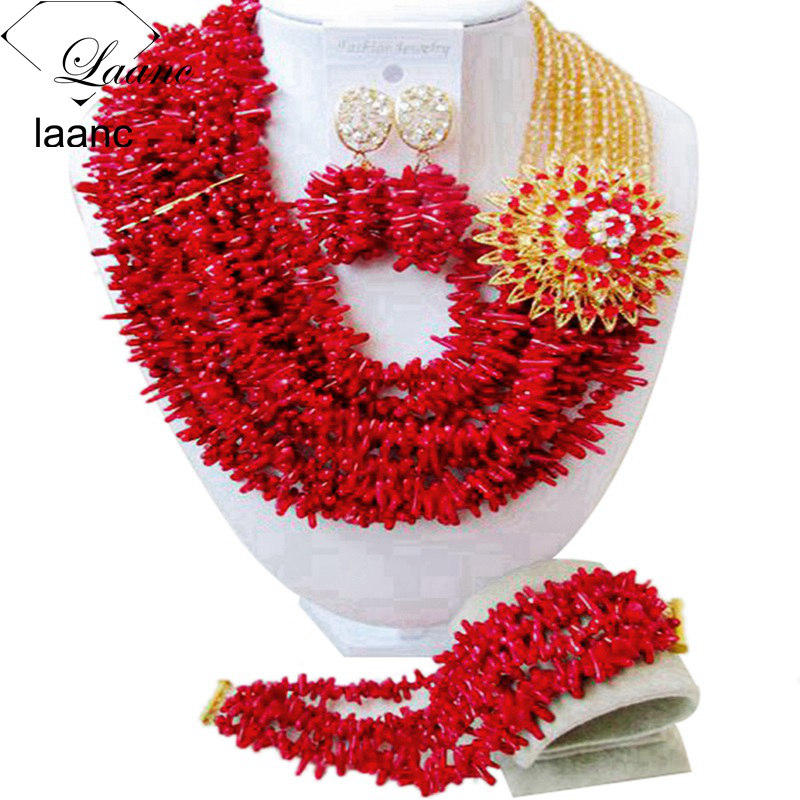 Laanc Nigerian Wedding African Jewelry Set Red Coral Beads Necklace Set for Women AL494 ...