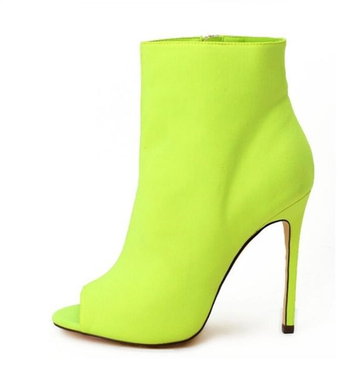 Hot Selling High Heel Ankle Boots Neon Yellow Red Fuchsia Black Suede Rubber Boots Women Peep Toe Slip-on Women High BootsHot Selling High Heel Ankle Boots Neon Yellow Red Fuchsia Black Suede Rubber Boots Women Peep Toe Slip-on Women High Boots