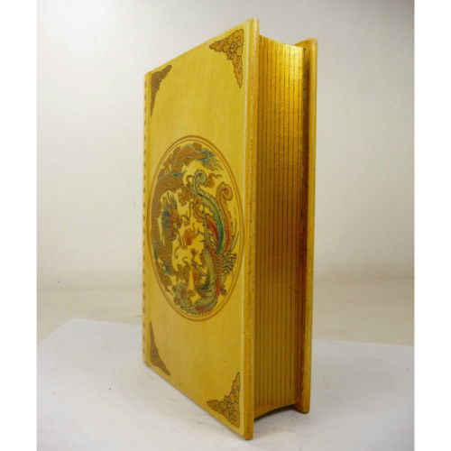 Superb China old handwork wood jewelry book shape box paint with dragon Phoenix